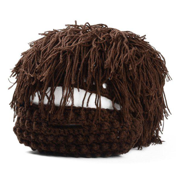 Stylish Men and Women's Woolen Yarn Imitated Wig Embellished Knitted Beanie - CAPPUCCINO