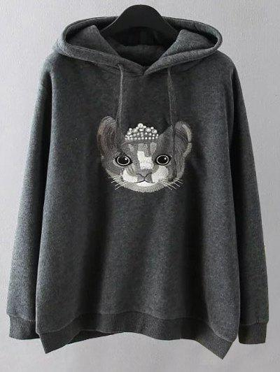 Cartoon Embroidered String Hoodie - GRAY 2XL