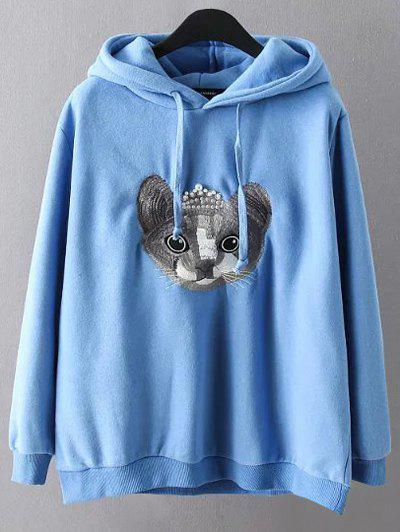 Cartoon Embroidered String Hoodie - BLUE 3XL