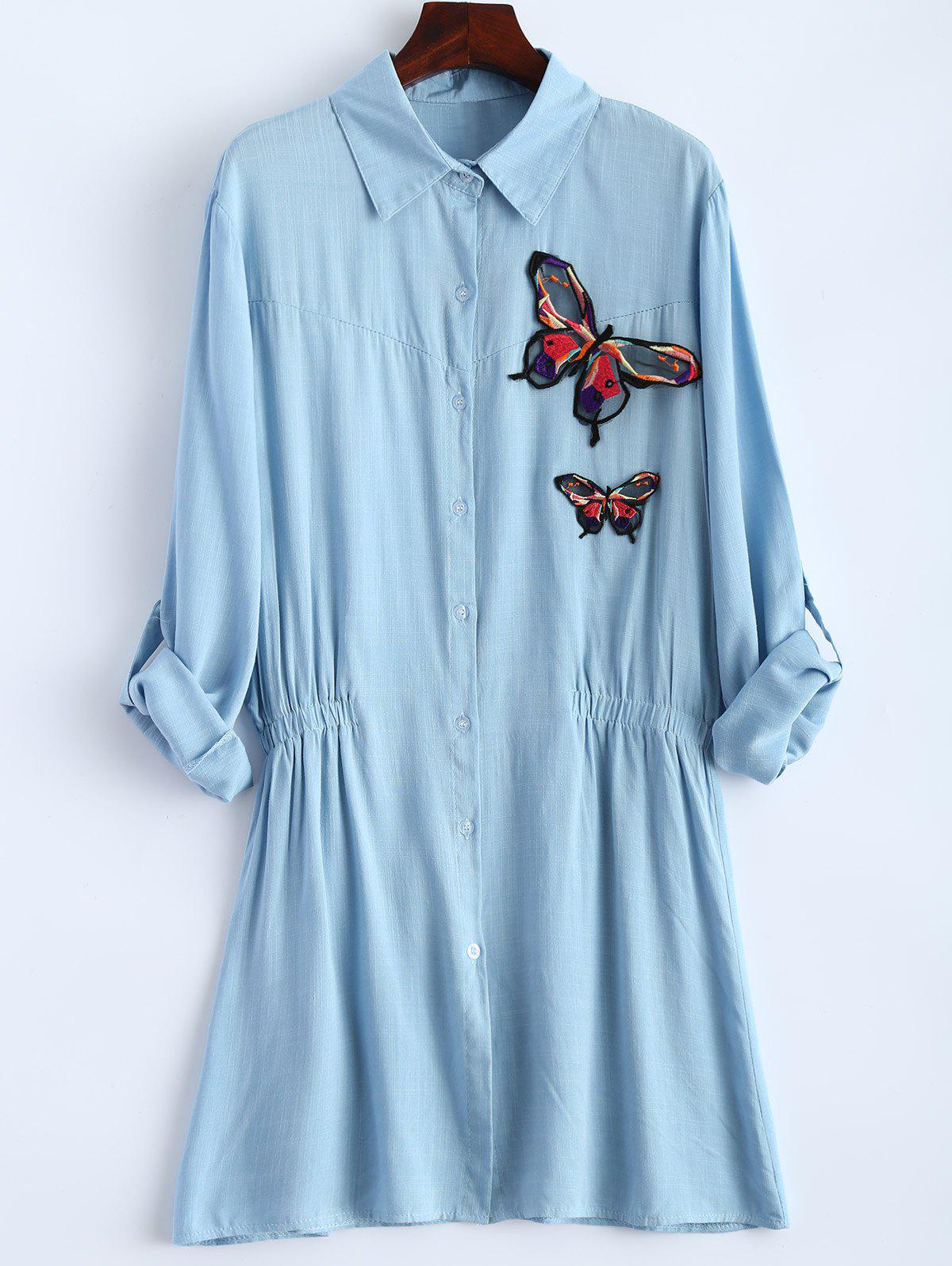 Фото Long Sleeve Plus Size Butterfly Embroidered Elastic Waist Shirt