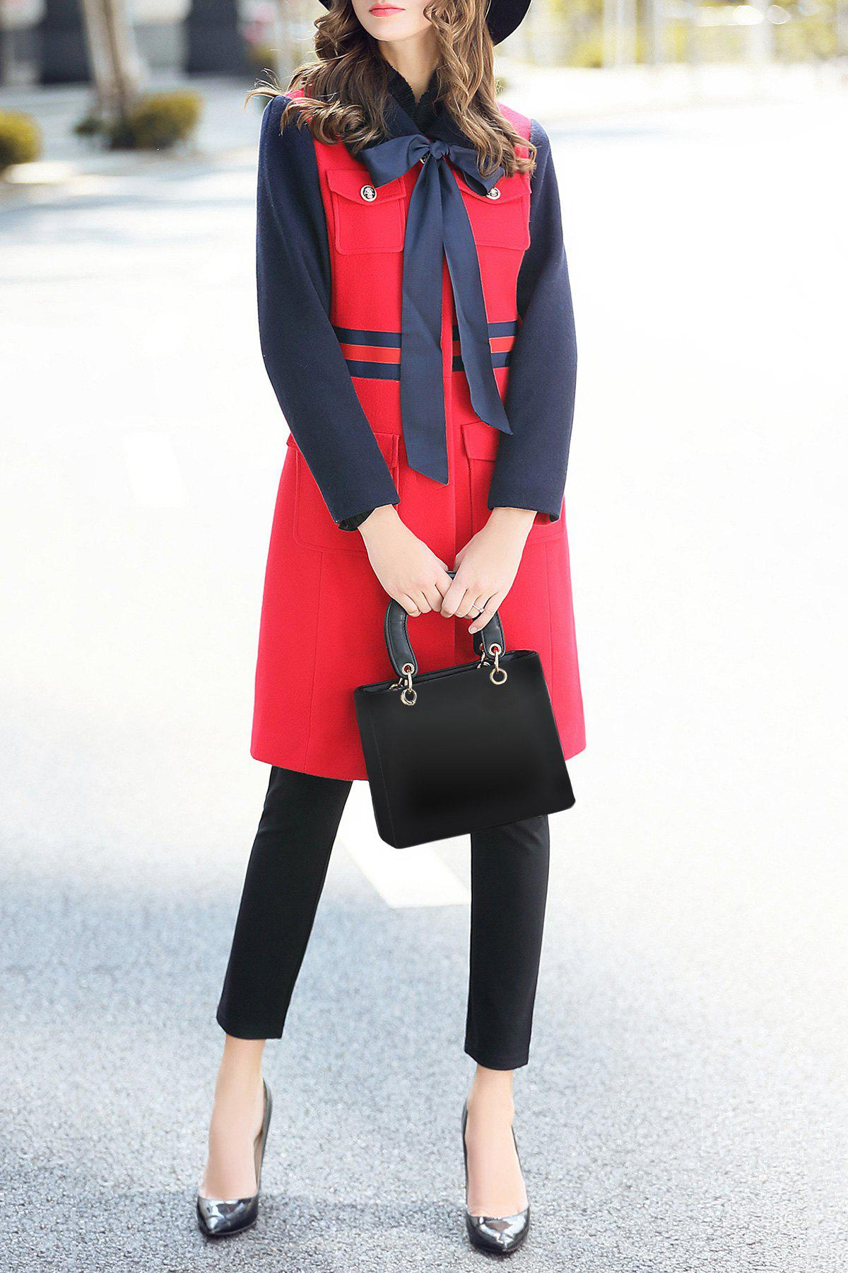 Bow Tie A Line Walker Coat, Red