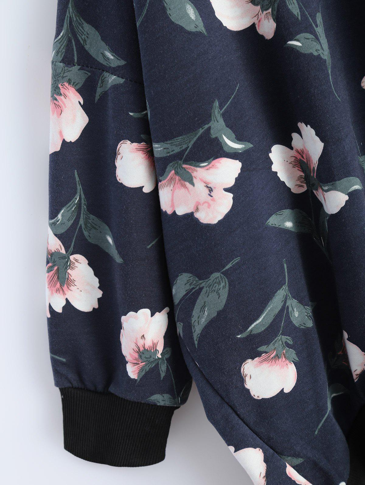 Loose Fit Floral Print High Low Hoodie - DEEP BLUE M