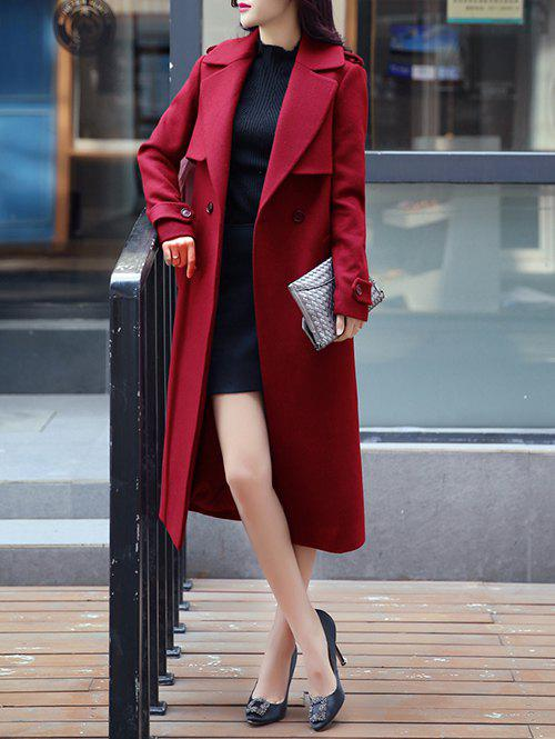 Epaulet Embellished Long Buttons Coat - RED XL