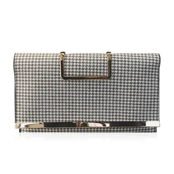 Gien Check Pattern Covered Closure Tote BagBags<br><br><br>Color: LIGHT GRAY