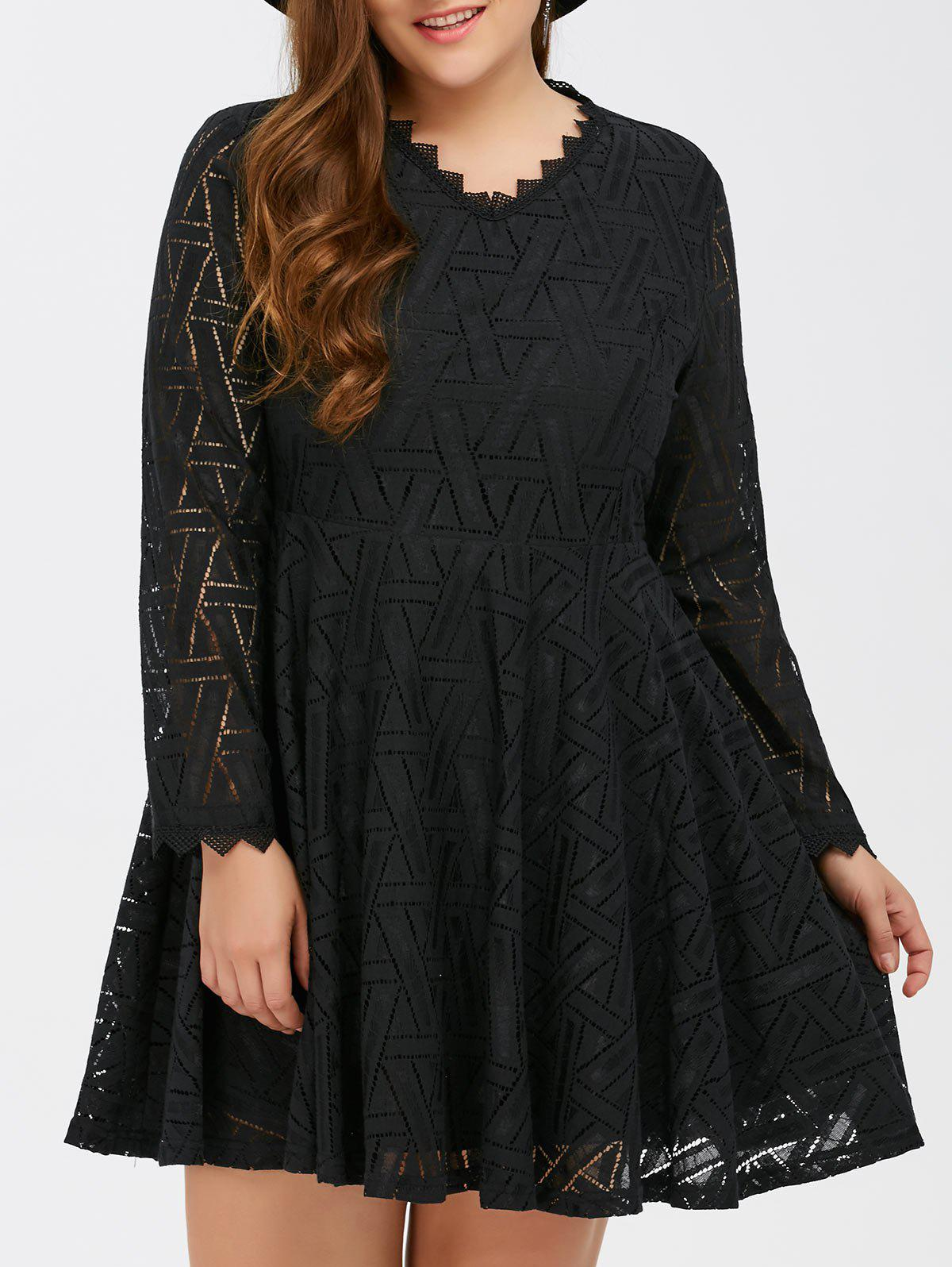 2018 Plus Size Lace Long Sleeve Skater Dress Black Xl In Plus Size