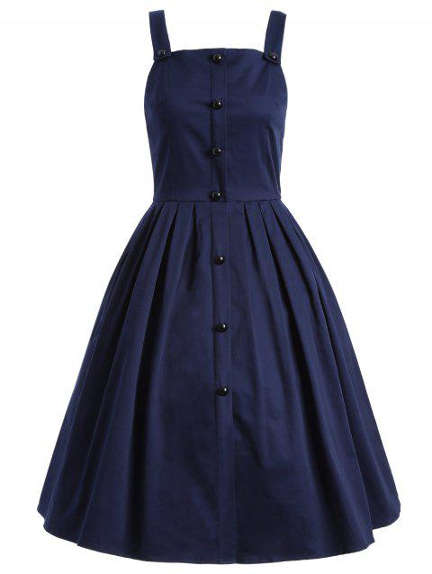 Vintage Sleeveless Buttoned Swing Dress - PURPLISH BLUE S