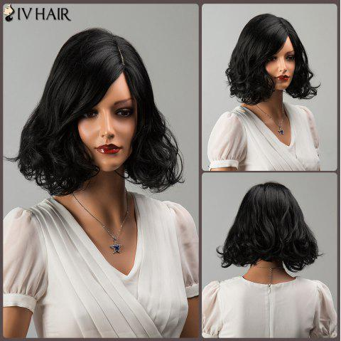 Siv Medium Wavy Shaggy Side Parting Human Hair Wig - JET BLACK 01