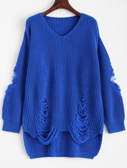 Pullover Ripped V Neck Sweater - BLUE 2XL