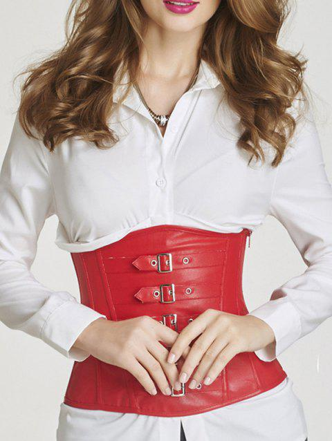 a2d987776d 17% OFF  2019 Faux Leather Buckle Underbust Corset In RED M ...