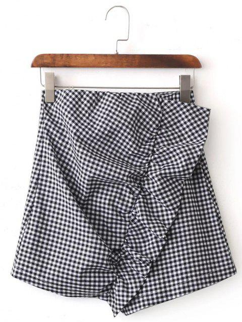Plaid Asymmetrical Mini Skirt - BLACK M