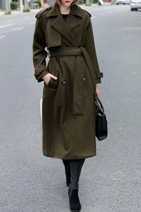 Double Breasted Maxi Wool Coat with Belt - ARMY GREEN S