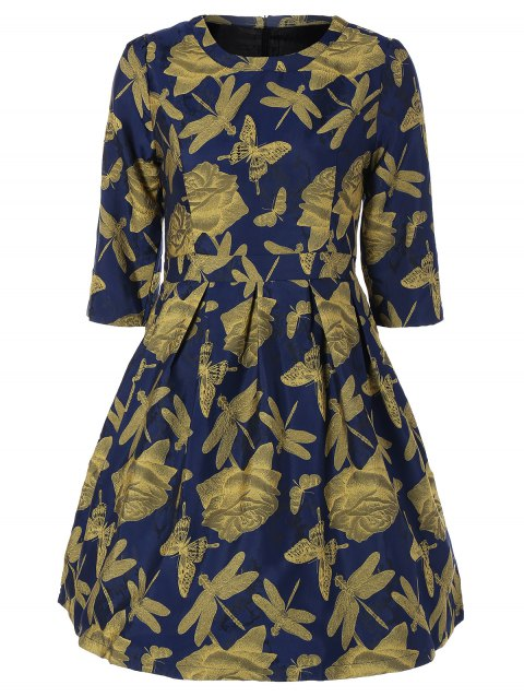 Butterfly Dragonfly Jacquard A Line Dress - GINGER S