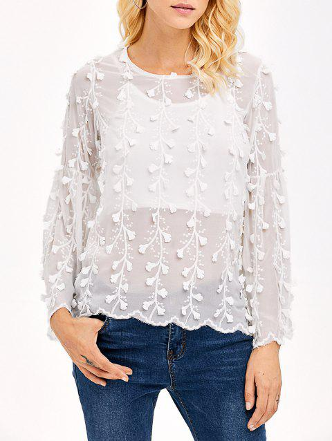 Embroidered Chiffon Blouse - WHITE S