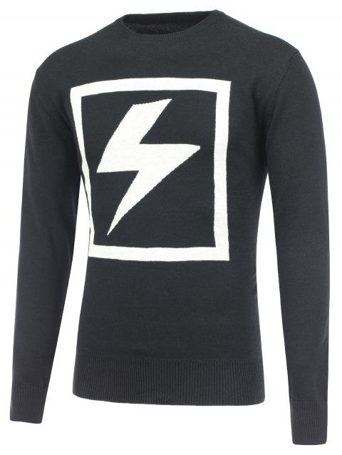 Lightning Pattern Crew Neck Pullover Sweater - BLACK L