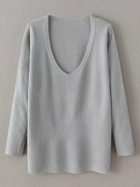 Pull large à col V - Gris ONE SIZE