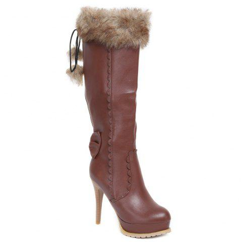 High Heel Pompon Scalloped Mid Calf Boots - BROWN 38
