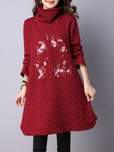 Plum Flower Embroidered Padded Dress - WINE RED L