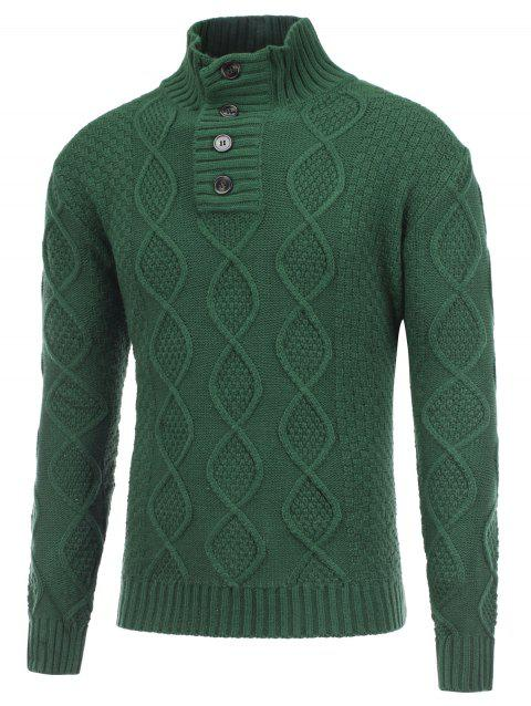 Stand Collar Button Fisherman Knitted Pullover Sweater - GREEN L