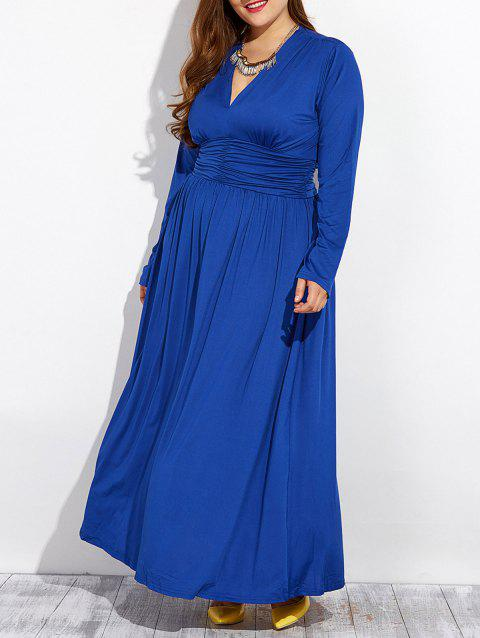 Long Sleeve Plus Size Formal Dress - ROYAL L