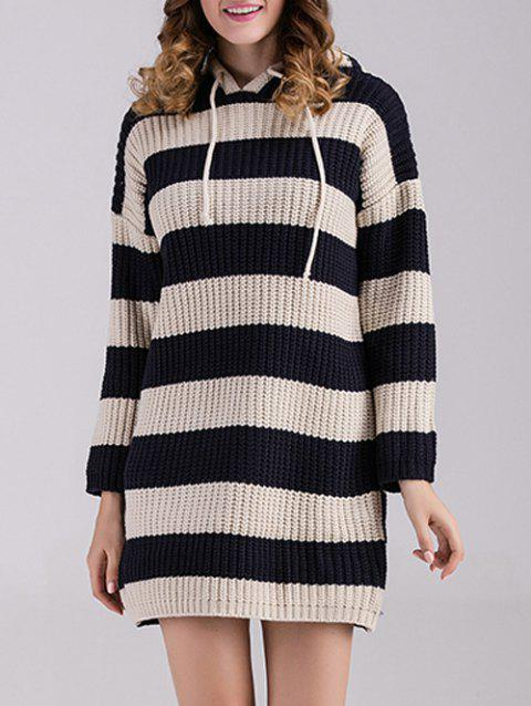 Striped Sweater Dress with Hoodie - BLACK ONE SIZE