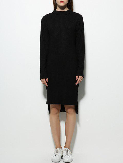 62e6e825f97 2019 Long Sleeve High Neck Fitted Jumper Dress In BLACK L ...