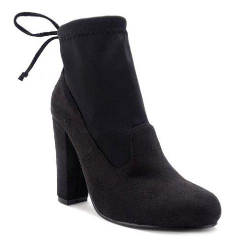 Tie Up Splicing Stretch Fabric Ankle Boots - BLACK 40