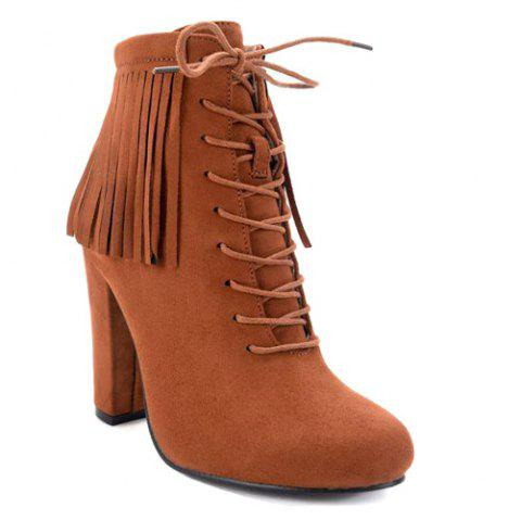 Tie Up Chunky Heel Fringe Ankle Boots - BROWN 39