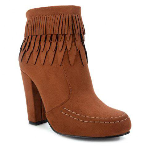 Zip Stitching Layer Fringe Ankle Boots - BROWN 38