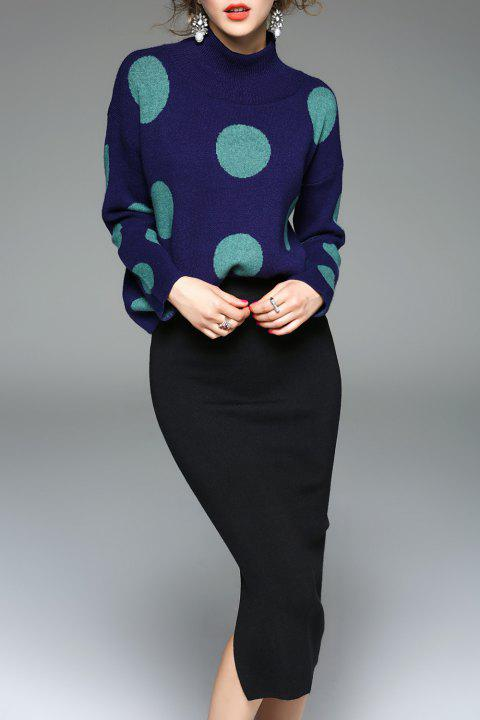 Polka Dot Sweater With Pencil Skirt - DEEP BLUE ONE SIZE