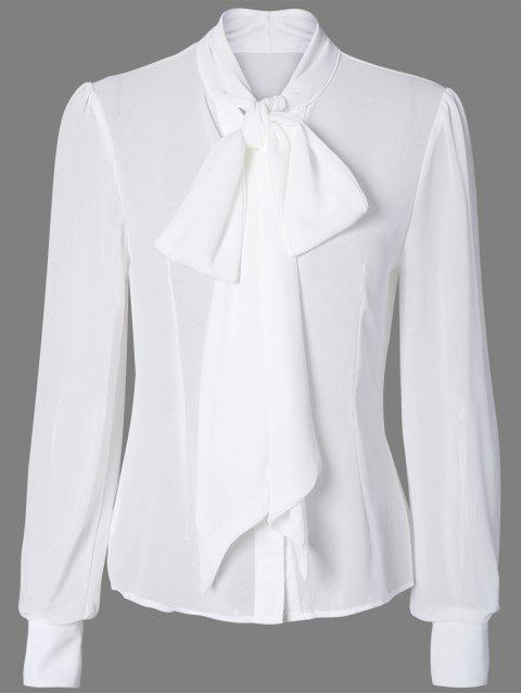 Pussy Bow Semi Sheer Blouse - WHITE L