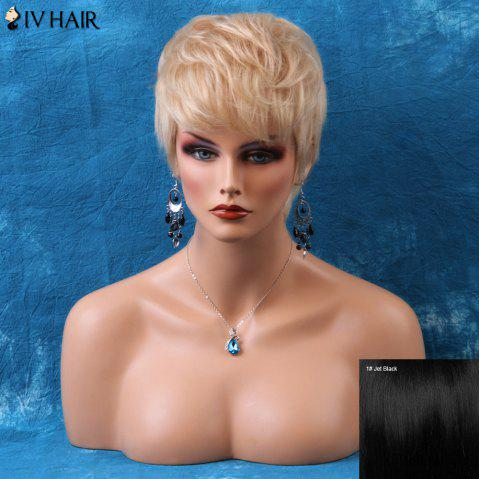 Siv Short Pixie Layered Straight Side Bang Human Hair Wig - JET BLACK 01