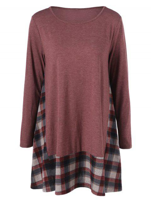 Plaid Trim Smock Dress - RUSSET RED M