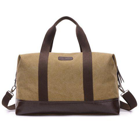 Canvas PU Leather Panel Weekend Bag - KHAKI