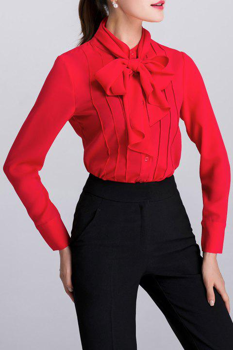 Pussy Bow Tie Long Sleeve Blouse - RED 2XL