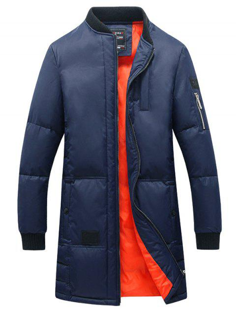 Thicken Stand Collar Lengthen Zip Up Down Coat - BLUE S