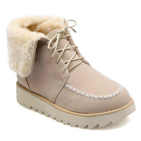 Flat Heel Stitching Tie Up Short Boots - APRICOT 38