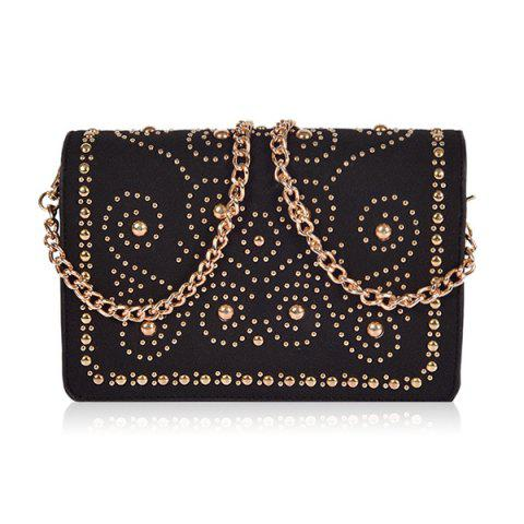 Chains Rivet Suede Panel Crossbody Bag - BLACK