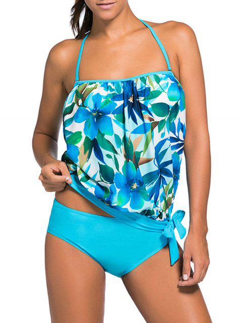 Halter Floral Hawaiian Tankini with Padded Bra - AZURE 2XL