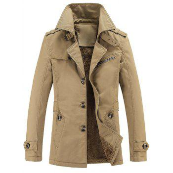 Turn-Down Collar Single Breasted Epaulet Embellished Fleece Coat