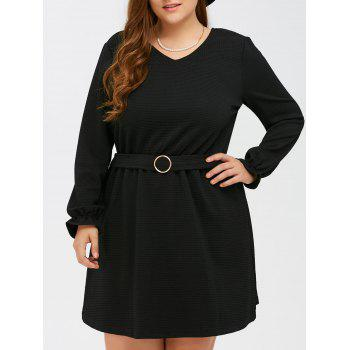 Puff Sleeves Buckle Fit and Flare Dress