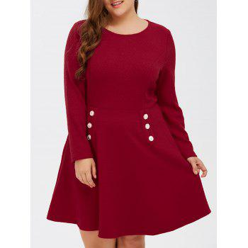 Grid Buttoned Fit and Flare Dress