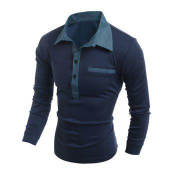 Chambray Splicing Turn-Down Collar Long Sleeve Buttons Men's Polo T-Shirt - CADETBLUE M