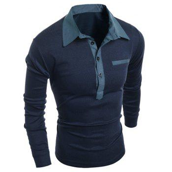 Chambray Splicing Turn-Down Collar Long Sleeve Buttons Men's Polo T-Shirt