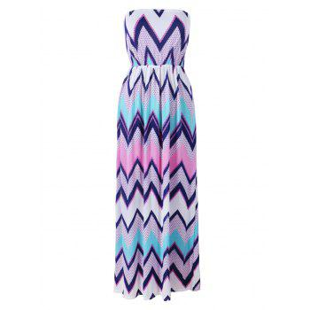 Zigzag Printing Beach Strapless Maxi Dress