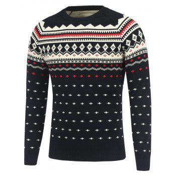 Crew Neck Geometric Pattern Raglan Sleeve Sweater