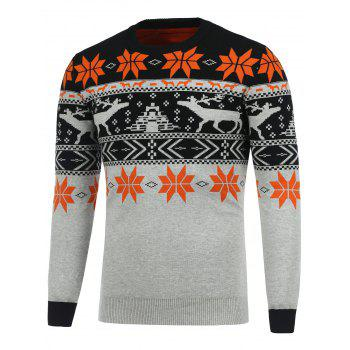 Deerlet Snowflake Crew Neck Christmas Sweater
