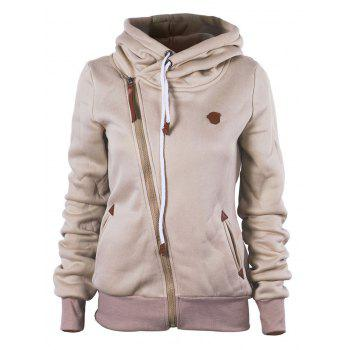 Oblique Zipper Hooded Jacket