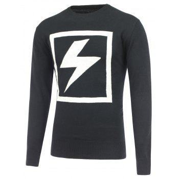 Lightning Pattern Crew Neck Pullover Sweater