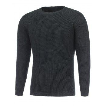Raglan Sleeve Crew Neck Ribbed Knitted Sweater