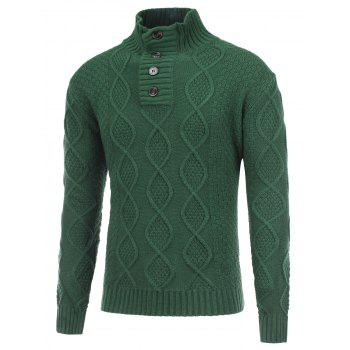 Stand Collar Button Fisherman Knitted Pullover Sweater